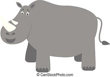 söt, vektor, tecknad film, illustration, noshörningen