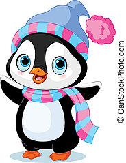 söt, vinter, pingvin
