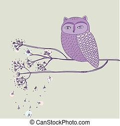 söt, violett, uggla, på, den, träd filial