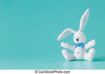 söt, vit kaninen, leksak