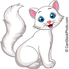 söt, vit katt, tecknad film, sittande