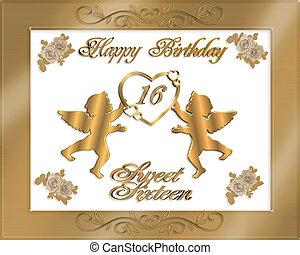 söta sexton, födelsedag, guld, invitat