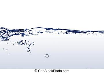 sötvatten, med, bubblar