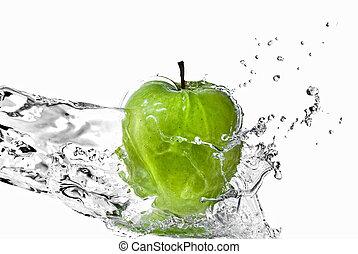 sötvatten, plaska, på, grönt äpple, isolerat, vita