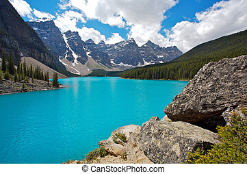 sø moræne, ind, banff nationale parker