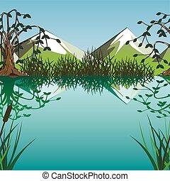 sø, på, en, baggrund, i, bjerge