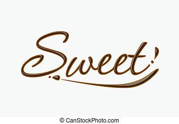 sød, chokolade, tekst