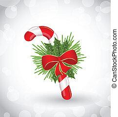 sød, fyrre, bøje sig, dekoration, stok, jul