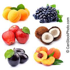 sød, samling, frugter