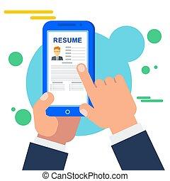 søgen, ambulant, ansøgning, arbejde, online, stab