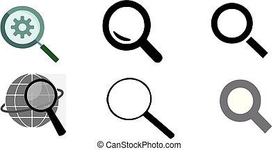 søgen, hvid baggrund, ikon