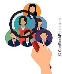 søgen, isoleret, rekrut, konstruktion, menneskelige ressourcer