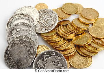sølv, og, guld mønteter
