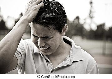 sørgelige, og, stress, unge, asian mandlig