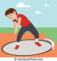 súlylökés, atlétikai, sport, vektor, karikatúra, ábra, állhatatos