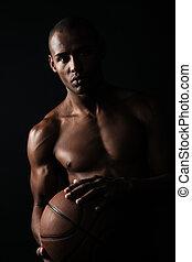 súlyos, afroamerican, kosárlabda játékos, hatalom labda