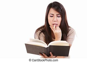 súlyos, könyv, fiatal, női