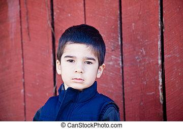 súlyos, kicsi fiú, gyártás, szem kontaktlencse