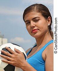 súlyos, női, futball játékos