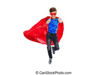 súper, arriba, héroe, actuación, niño, capa, pulgares, ...