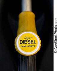 súper, bomba, diesel, francés, amarillo