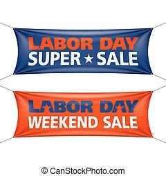 súper, fin de semana, venta, trabajo, bandera, día