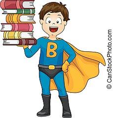 súper, libros, niño, héroe, niño
