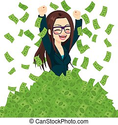 súper, rico, exitoso, mujer de negocios