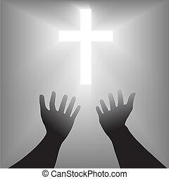 súplica, silueta, cruz, manos