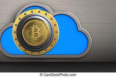 sûr, bitcoin, nuage, 3d