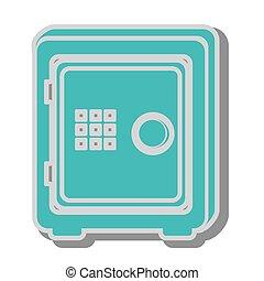 sûr, boîte icône, argent, conception