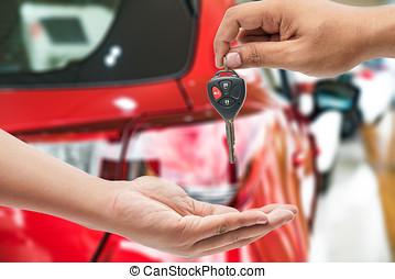 sûr., clés, voiture, conduire, tondu, directeur, closeup, femme, propriétaire, réception, revendeur