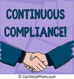 sûr, concept, formulaire, compliance., agreement., texte, continu, salutation, proactively, environnement, signification, santé, hommes affaires, mains, geste, écriture, soin, secousse, maintenir, fermement