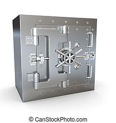 sûr, dans, sans tache, steel., banque, vault.