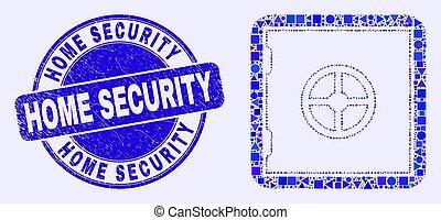 sûr, sécurité maison, mosaïque, banque, timbre, bleu, gratté