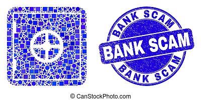 sûr, scam, banque, bleu, détresse, banque, cachet, mosaïque