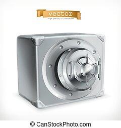 sûr, vecteur, métal, 3d, icône