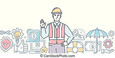 sûreté abord, -, coloré, ligne, conception, style, illustration