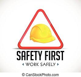 sûreté abord, concept, -, travail, sans risque, signe,...