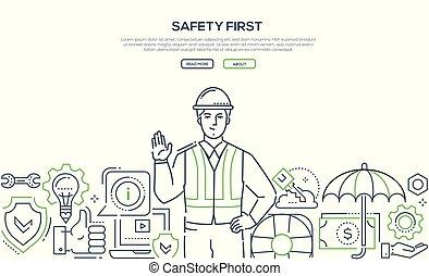 sûreté abord, -, moderne, ligne, conception, style, bannière