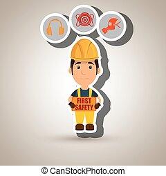 sûreté abord, ouvrier, icône