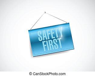 sûreté abord, pendre, bannière, illustration, conception