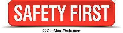 sûreté abord, rouges, 3d, carrée, bouton, isolé, blanc