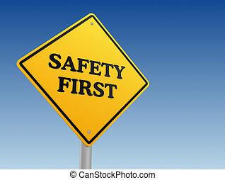 sûreté abord, signe, concept, illustration