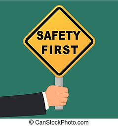 sûreté abord, signe, dans, main, concept