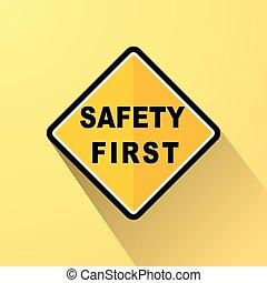 sûreté abord, signe jaune, concept