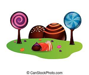süßigkeiten, fantasie, lieb, landschaftsbild, kakau