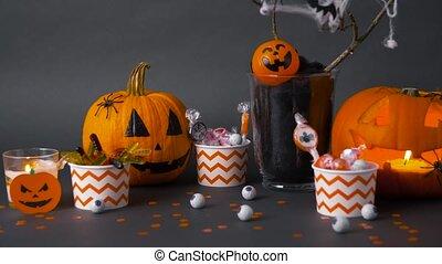 süßigkeiten, halloween, kürbise, dekorationen