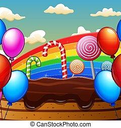 süßigkeiten, lieb, fantasie, land, regenbogen, hintergrund
