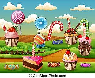 süßigkeiten, lieb, kuchen, fantasie, land, becher